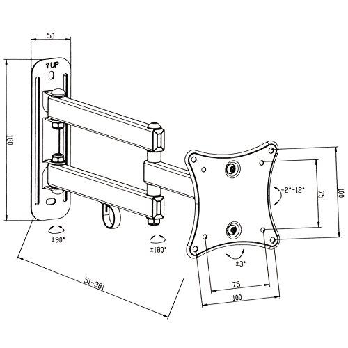 TecTake Wandhalterung ausziehbar neigbar schwenkbar mit Kabelhalter - 6