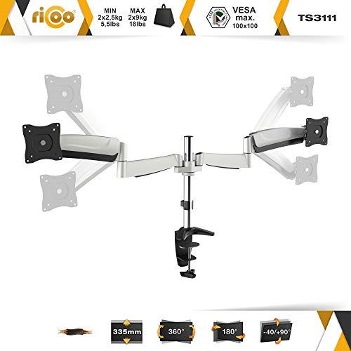 Ricoo TS3111 Tischhalterung für 2 Monitore mit Gasdruckfedergelenk - 3