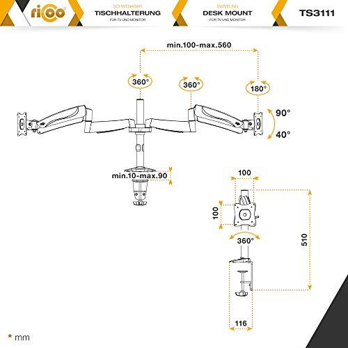 Ricoo TS3111 Tischhalterung für 2 Monitore mit Gasdruckfedergelenk - 7