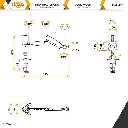 Ricoo TS3011 Tischhalterung mit Gasdruckfedergelenk - 6