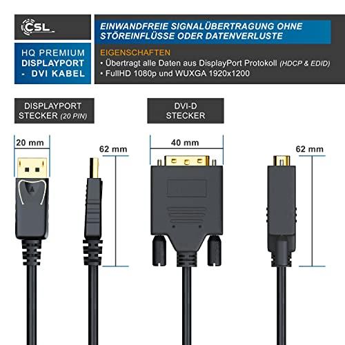 CSL – 2m (Meter) HQ Premium DisplayPort (DP) auf DVI Kabel | Zertifiziert / HDCP und EDID | Full HD Ausflösung | 24K vergoldete Kontakte / 3 fach Schirmung | Grafikkarten / Apple und PC / Beamer / Monitor - 3