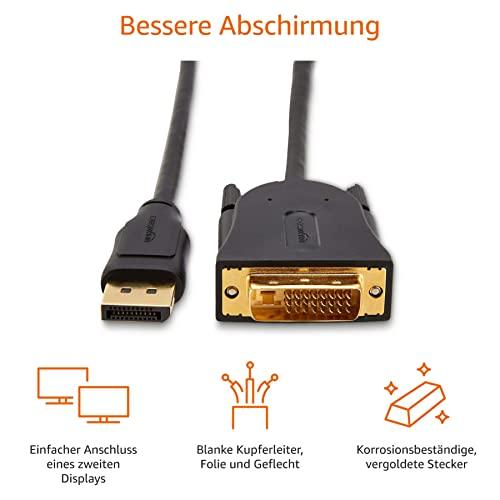 AmazonBasics Verbindungskabel, DisplayPort auf DVI, Full-HD, 1,8m - 5