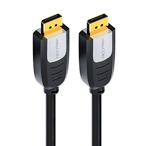 deleyCON 2m DisplayPort zu DisplayPort Kabel – FullHD / 1080p / 3D / HDCP – DP (20 pin) Stecker auf DP (20 pin) Stecker – vergoldet – für Apple Mac / PC / Notebook / Monitor / Grafikkarte – 2 Meter - 5